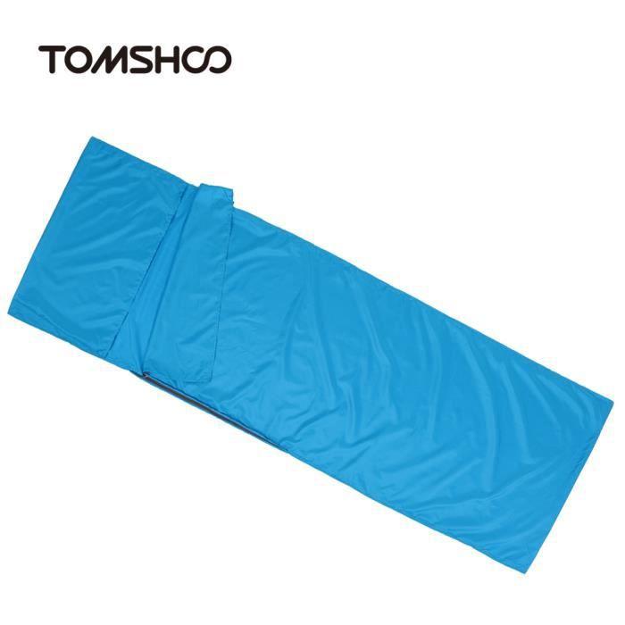 TOMSHOO 70 * 210cm Sac de couchage avec oreiller Portable léger, pour voyage en plein air Camping randonnée - Bleu