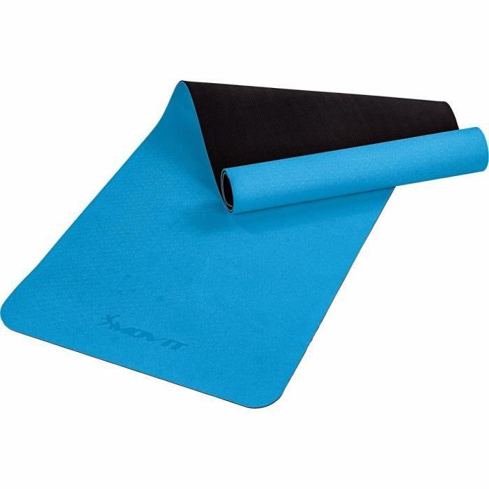 MOVIT Tapis de gymnastique TPE, tapis de pilates, tapis d'exercice premium, tapis de yoga, 190 x 60 x 0,6 cm, bleu clair