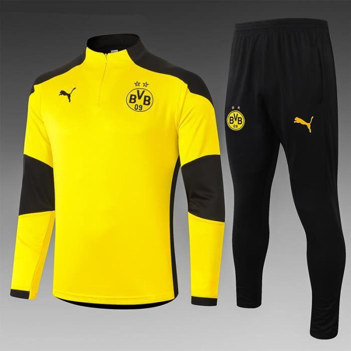 Nouveau Survetement 2020-2021 Borussia Dortmund Maillot de Foot Football Soccer(Maillot + Pantalon)Pas Cher pour Homme