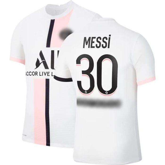 Maillot de Football Blanc T-Shirt de L'équipe de Paris-Messi Maillot de Formation 30 Tissu Respirant pour Enfant Exterieur