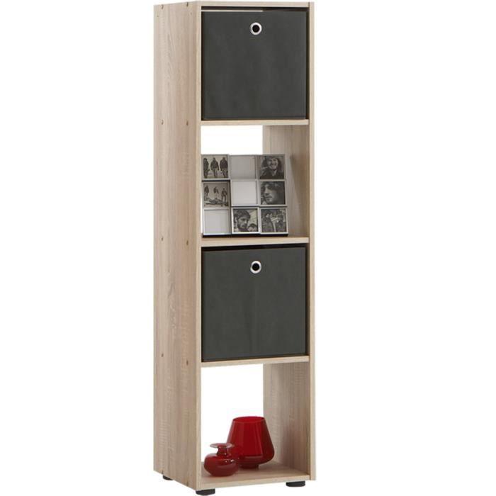 Bibliothèque avec 4 casiers coloris chêne, L 36,5 X H 140,5 X P 33 cm