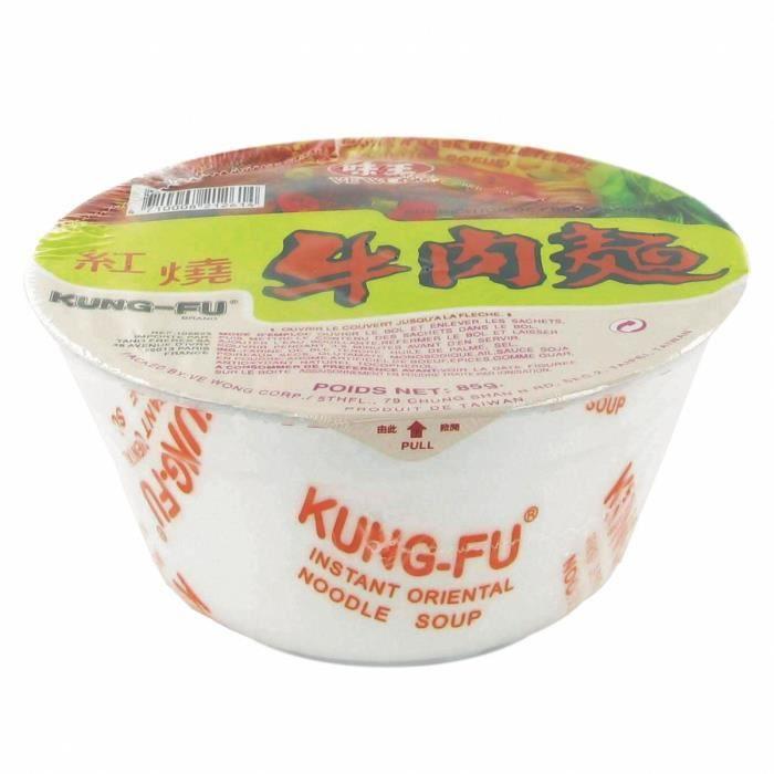 Soupe / Nouilles instantanées taïwanaises en bol - Saveur boeuf - Marque Kung Fu Ve Wong - 85g - Lot de 6 bols