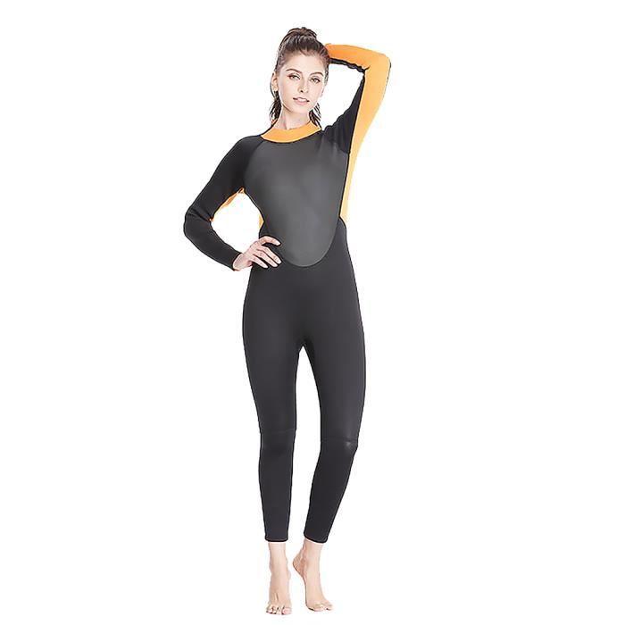 (XXXL) Combinaison de plongée chaude pour femmes 3MM - préparation de maillot de bain hiver paddle surf black orange