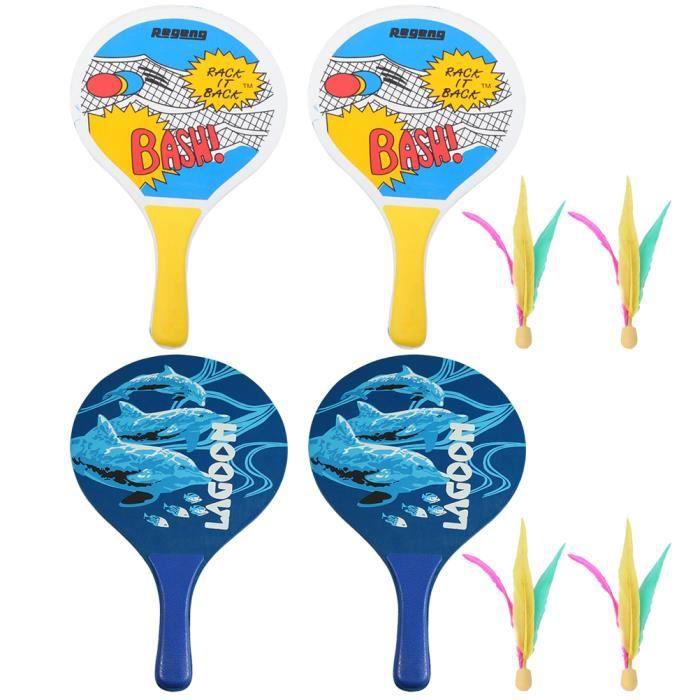 2 ensembles de planche badminton raquette ballon de plage de pagaie pour la fête en plein air voyage RAQUETTES DE PLAGE