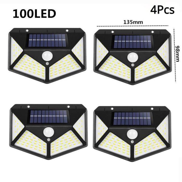 100LED 4Pcs -Lampe solaire d'extérieur étanche avec détecteur de mouvement PIR,alimentée par 100-180,luminaire décoratif,idéal po