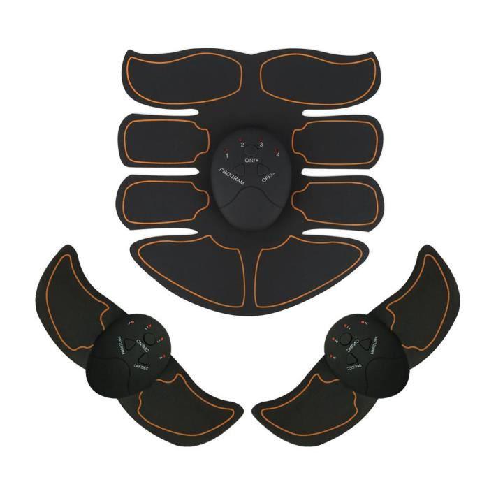 EMS Appareil Abdominaux Musculation Intelligent Abdomen Patch (1 Abdomen + 2 Bras + 3 Principaux) (Noir + Orange)