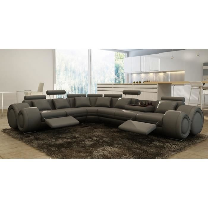 canap d 39 angle gauche design cuir gris relax achat vente canap sofa divan cdiscount. Black Bedroom Furniture Sets. Home Design Ideas