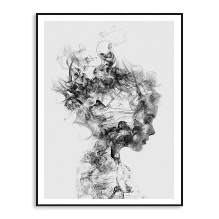 Abstraite Noir Blanc Femme Toile Art Peinture Murale Décoration Sans Cadre 40 50cm 037