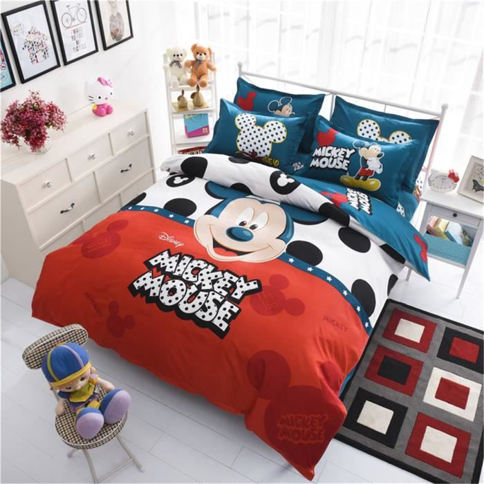 l m mickey mouse enfant parure de couette parure de lit 1 housse de couette 155x 200 cm 1 taie. Black Bedroom Furniture Sets. Home Design Ideas