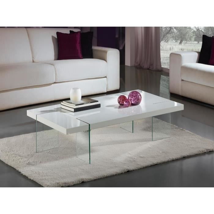 Table basse design laqu blanc et verre tremp brisa for Table basse bois et laque blanc