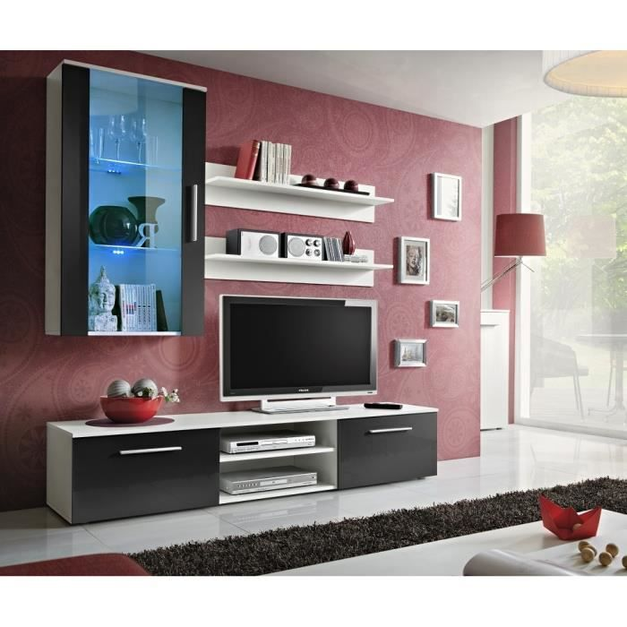 Meuble de salon tv complet design gali e led achat vente meuble tv meub - Salon complet design ...