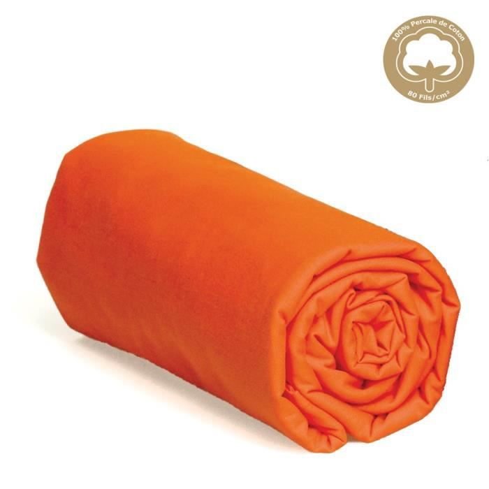 drap housse 140x190 orange Drap housse 140x190 Percale ORANGE bon27   Achat / Vente drap  drap housse 140x190 orange