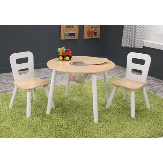 table ronde 2 chaises en bois design pour enfant achat vente table et chaise 2009961512414. Black Bedroom Furniture Sets. Home Design Ideas