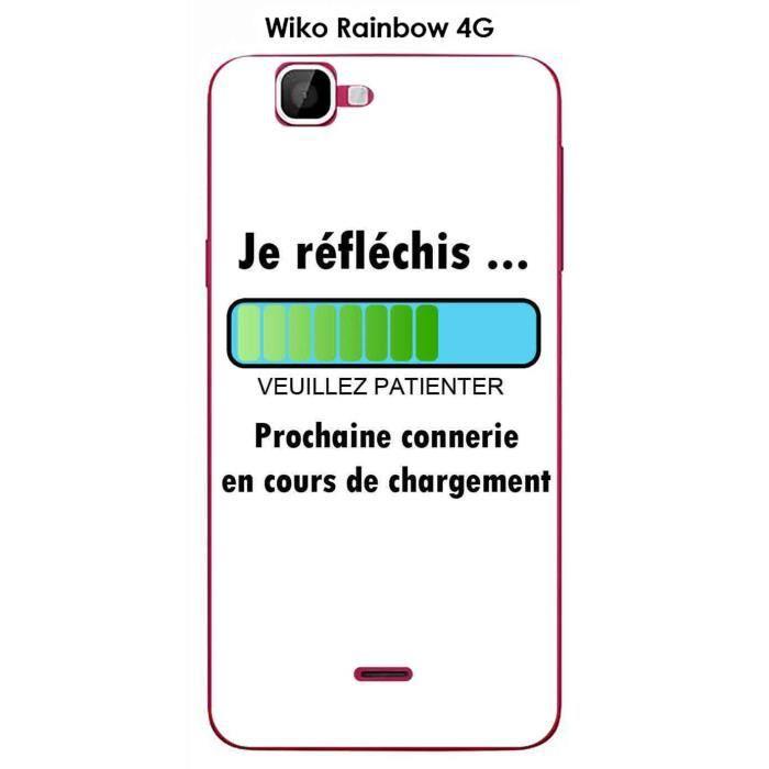 Coque Wiko Rainbow 4G design Message Je réfléchis, Texte noir ...