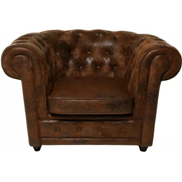 fauteuil chesterfield vintage achat vente fauteuil cdiscount. Black Bedroom Furniture Sets. Home Design Ideas