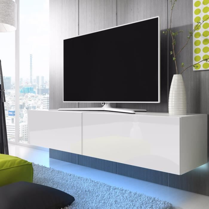 meuble tv meuble salon lana 200 cm blanc mat blanc brillant avec led bleue style. Black Bedroom Furniture Sets. Home Design Ideas