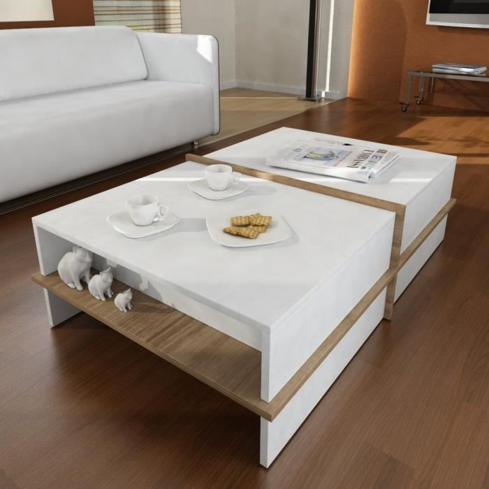 table basse blanc et noyer achat vente table basse blanc et noyer pas cher cdiscount. Black Bedroom Furniture Sets. Home Design Ideas