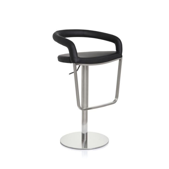 tabouret de bar tiago en acier inox bross noir achat vente tabouret de bar acier pu. Black Bedroom Furniture Sets. Home Design Ideas