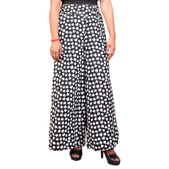 Femme Plus Taille Pantalon Femmes Pantalon Palazzo Jambe Large Crêpe Élastique Nouvelle