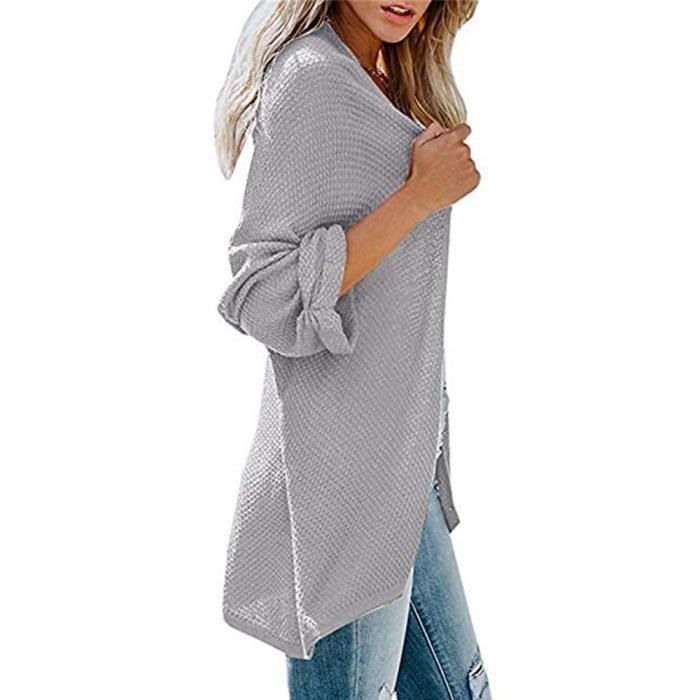 Cardigan Maille Manches Paontry3549 Fit En Manteau Women Hauts Long Loose wqtYII