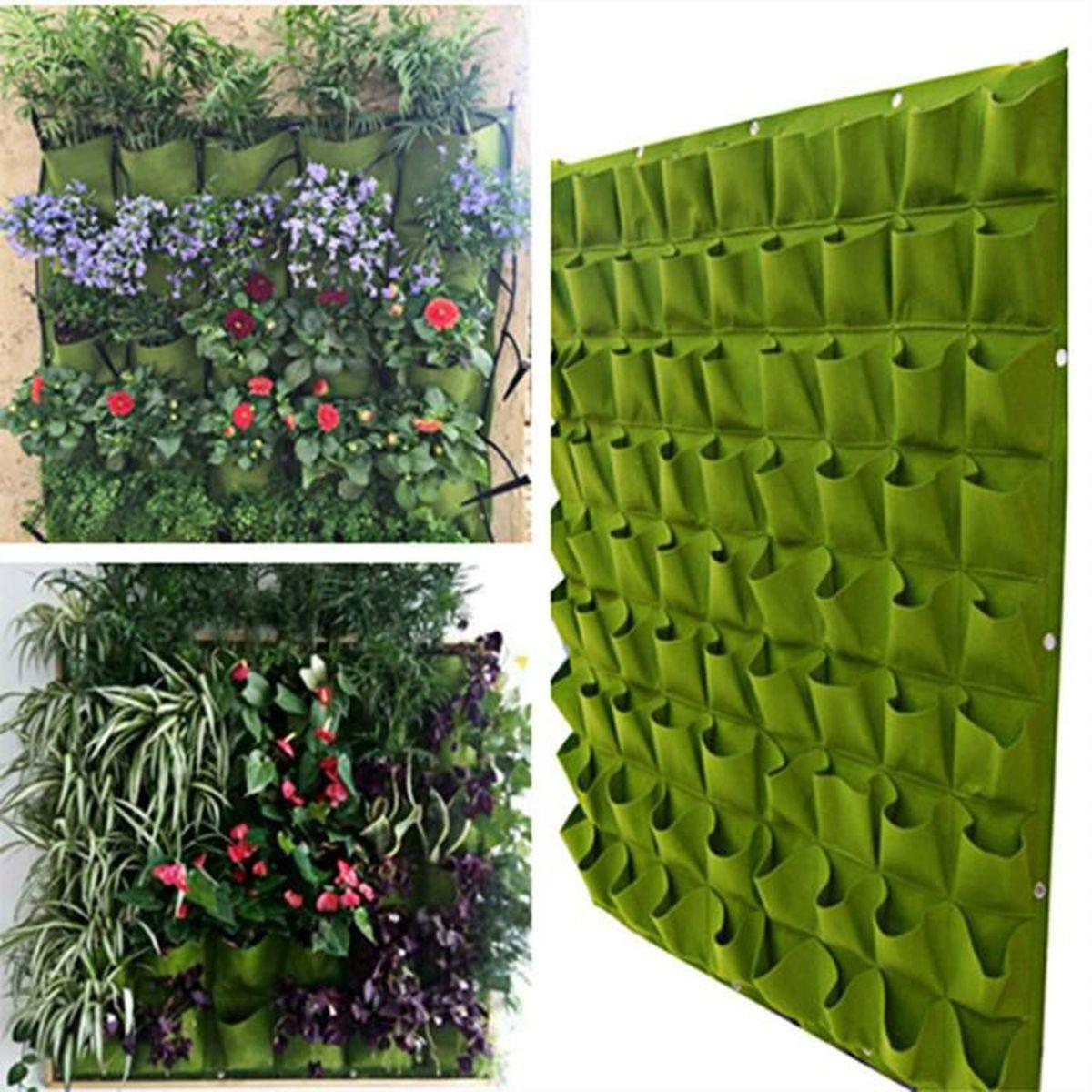 Plante Sur Les Murs 72 poches vert mur fleurs en feutre à suspendre sacs sac