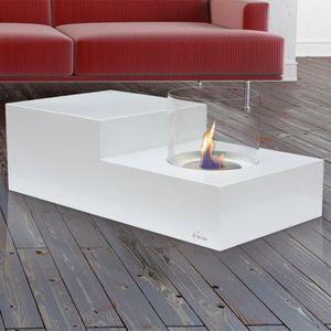 CHEMINÉE LETO une table de salon avec cheminée bio éthanol