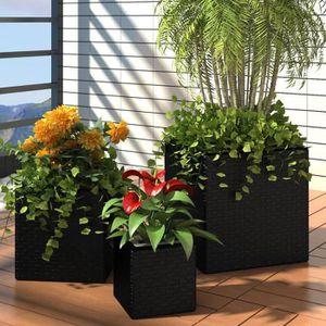JARDINIÈRE - BAC A FLEUR Lot de 3 Pots de fleurs Carré en Rotin Noir