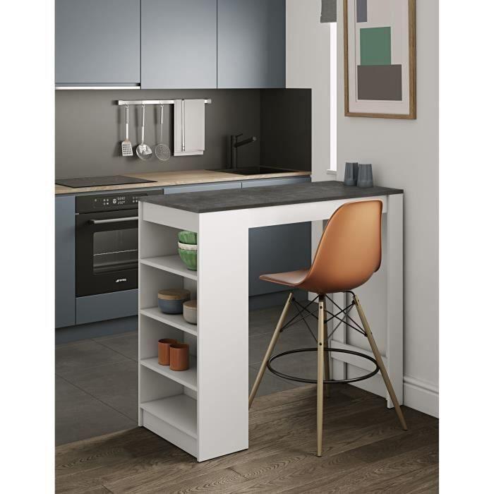 TABLE HAUTE-Table de bar fond blanc + plateau de table blanc-simple et beau-115 * 50 * 103CM®HOMBUY