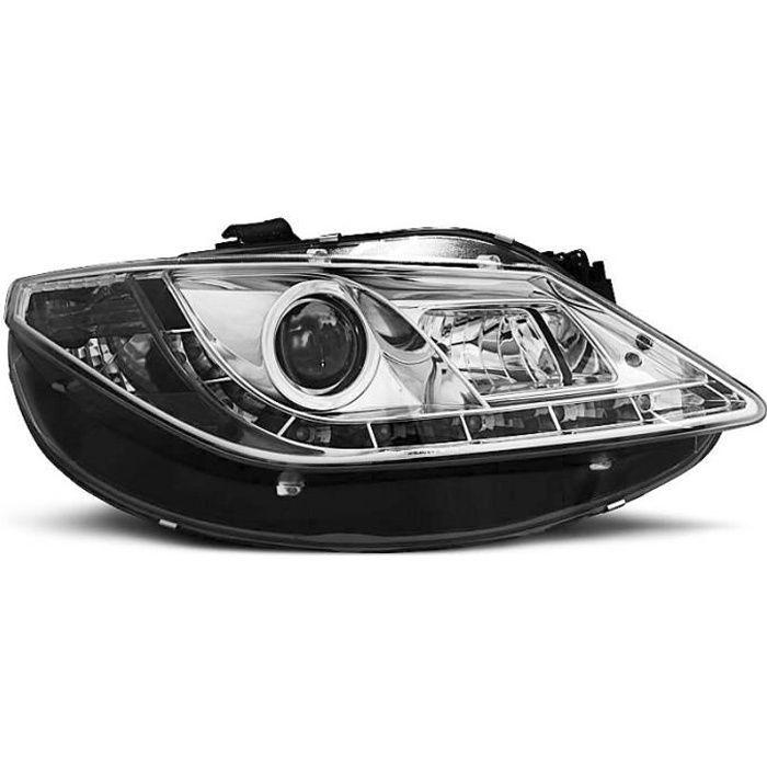 Paire de feux phares Seat Ibiza 6J 08-17 Daylight led chrome (E17)