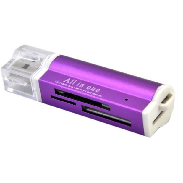 Tout en 1 USB 2.0 Lecteur de Carte Mémoire SDHC/SD/MMC/Micro/TF Violet