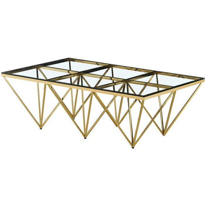 Table basse design en acier inoxydable poli doré et plateau en verre trempé transparent L. 120 x P. 80 x H. 42 cm collection VERONA
