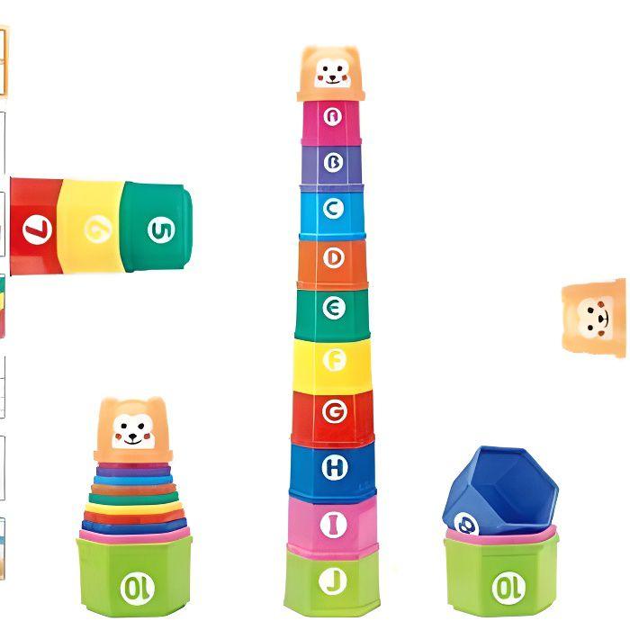 Jouet Bain Cubes Empilables Bebe Jeu A Empiler Enfant Jouet Premier Age Jeux Educatif Nombres Lettres 6 Mois + Garçon Fille