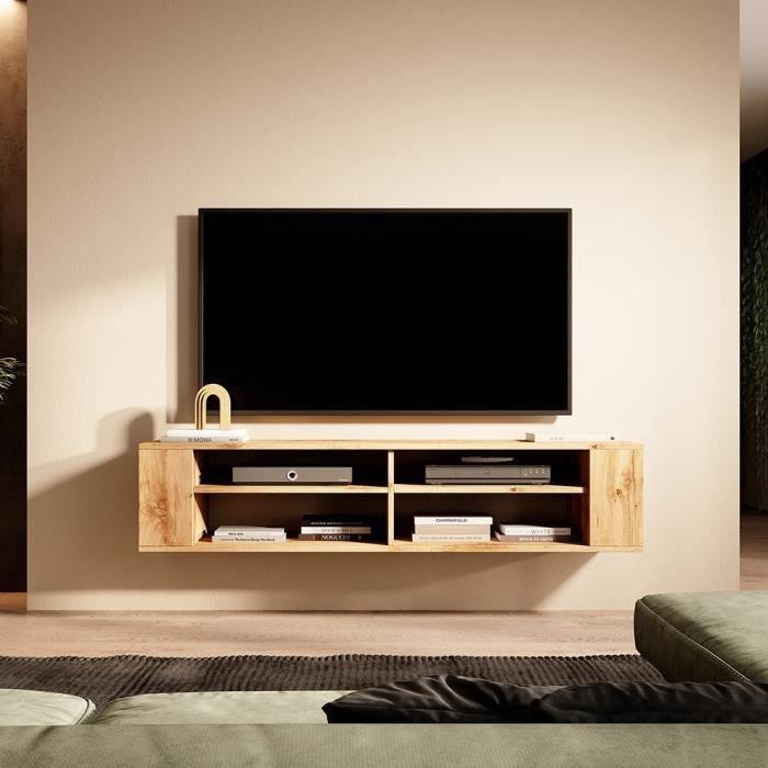 Meuble TV - WERI - 140 cm - chêne wotan - style moderne