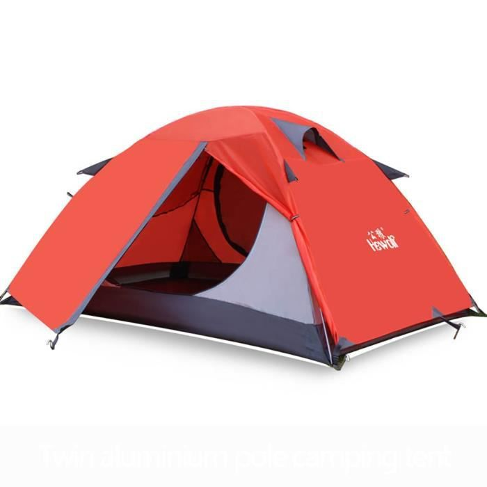 Tente de camping légère de poteau en aluminium de randonnée, sac à main portatif à double couche pour la randonnée orange