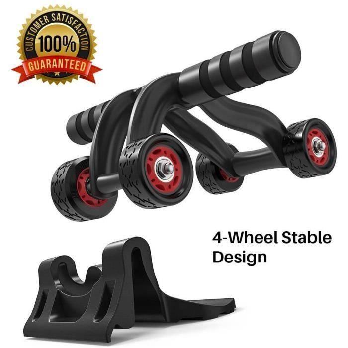 Roue Abdominaux AB Wheel Roller de Fitness Musculation Appareil Abdos-Tapis Epais pour Genou, Pratique pour Femme et Homme, Noir
