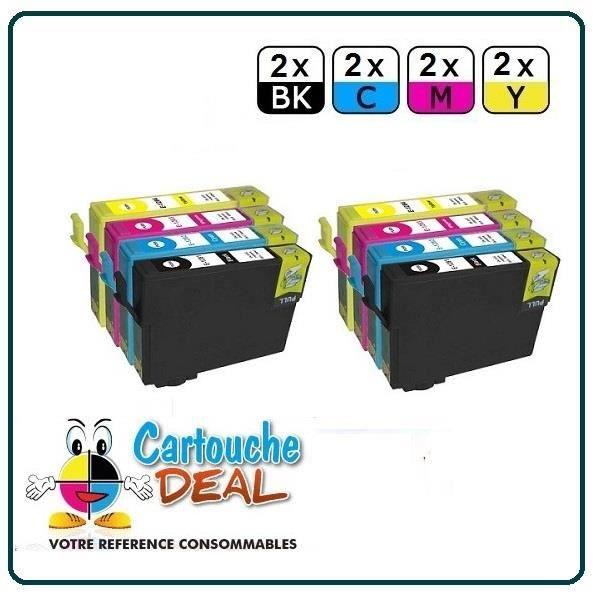 2+6 Cartouche générique compatible Epson T1281 T1282 T1283 T1284