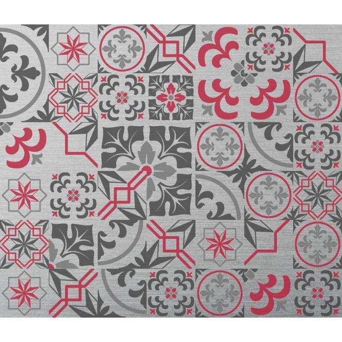 Crédence adhésive en alu Carreaux de ciment - L. 20 x l. 20 cm - Gris