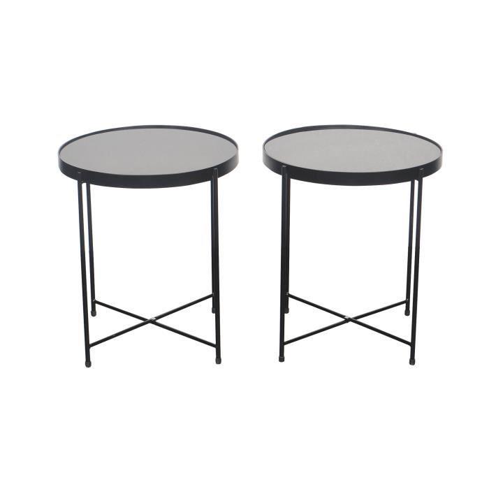 By Demeyere « Alicia » lot de 2 tables basses rondes en verre trempé et pieds métal noirs, 42x42x46 cm