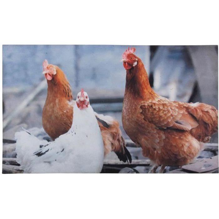 Tapis paillasson imprimé poules - 75 x 45 cm
