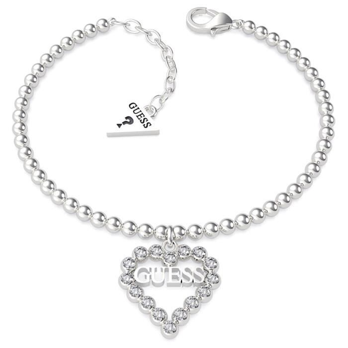Bracelet GUESS Coeur Romance UBB70086-S billes en acier inoxydable rodiado logo coeur Swarovski