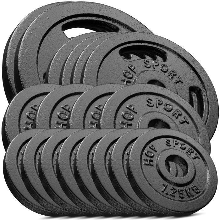 HS Hop-sport Disques en Fonte 60kg (2x10kg, 4x5kg, 4x2,5kg,8x1,25kg) SET AC