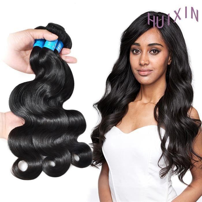 HUIXIN-3 tissage bresilien ondulé 7A cheveux naturels virgin hair 8+10+12pouces 50g-p body wave