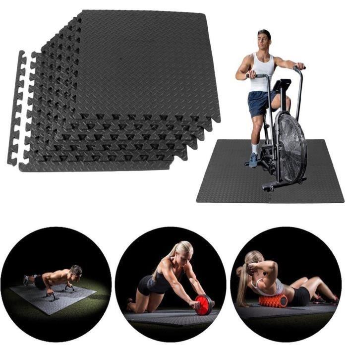 48PCS Tapis de Protection de Sol 60 x 60cm Dalles en Mousse Matelas Puzzle Tapis de Fitness pour matériel Fitness, Gym
