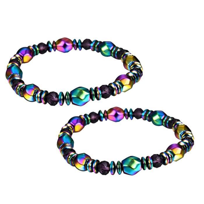 2 pcs Bracelet Perte De Poids Coloré Hématite Perles Magnétique Perle Bracelets pour Femmes BRACELET - GOURMETTE - JONC