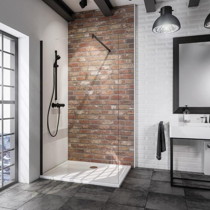 Paroi de douche fixe à l'italienne 90x190 cm, Walk In Black Style, verre transparent, profilé noir, Schulte