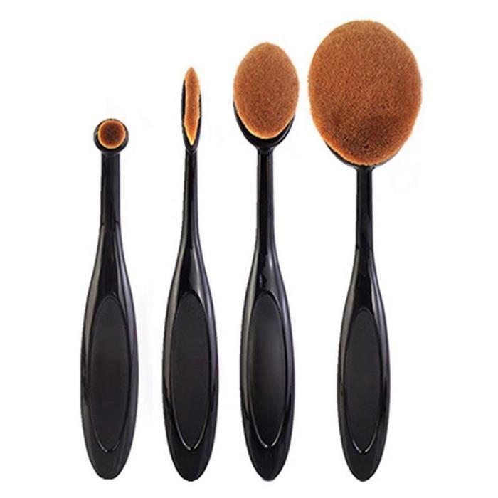 4Pcs- Set Pinceau de Maquillage Cosmétique Brosses Poudre Pinceau Toothbrush Shape Kits pinceaux Maquillage Fond de Teint Pinceaux
