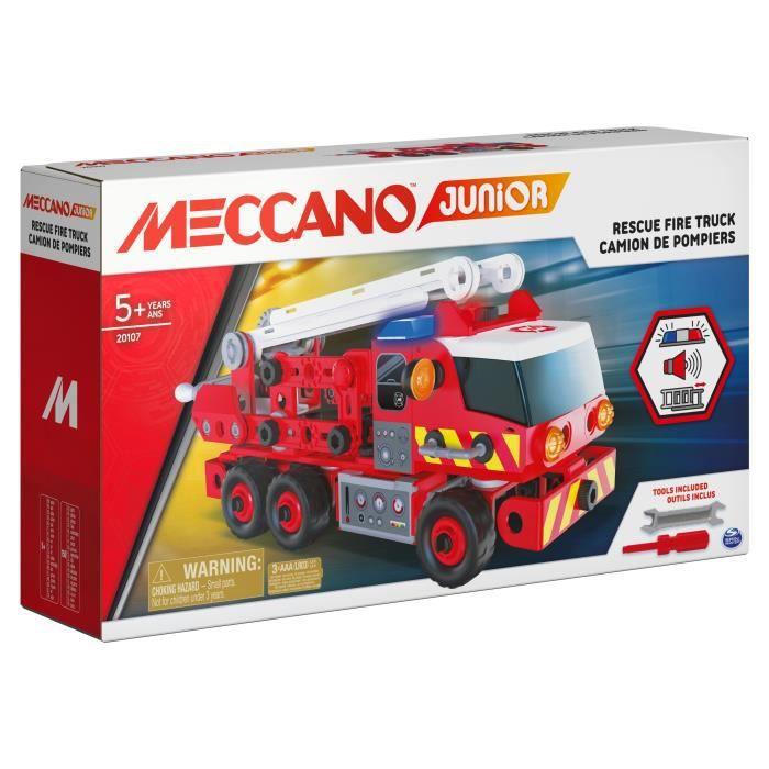MECCANO - CAMION DE POMPIERS à construire Meccano Junior - 6056415 - Jeu de construction avec effets sonores et lumineux