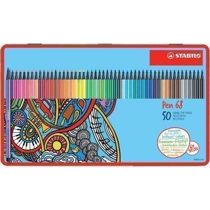 Feutres premium - STABILO Pen 68 - Coffret métal de 50 couleurs
