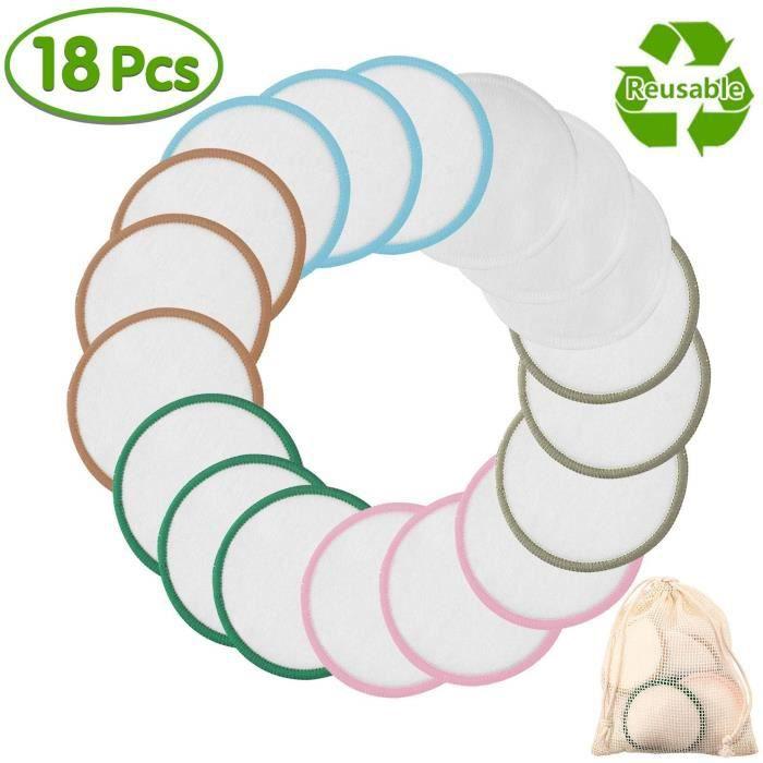 Stillcool® Paquet de 18 PCS Coton Demaquillant Tampons Lavable Réutilisable Bambou Bio Microfibre Pad Démaquillant