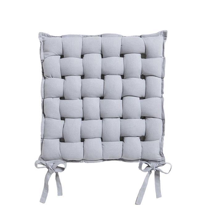 Galette de chaise Tressée - 40 x 40 cm - Gris clair